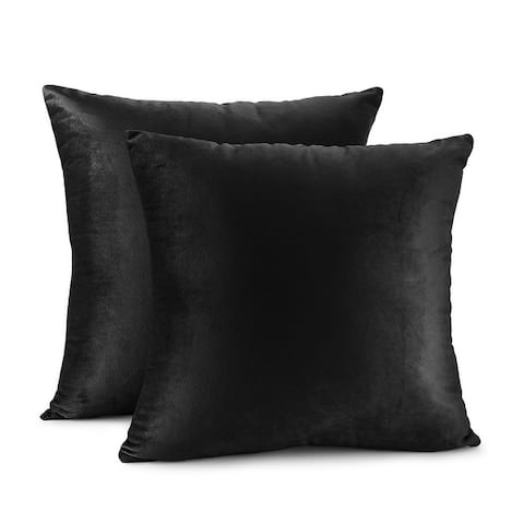Porch & Den Cosner Solid Color Microfiber Velvet Throw Pillow Cover - Set of 2