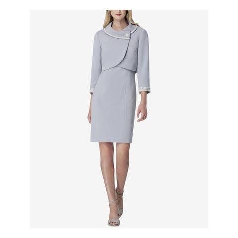TAHARI Gray Above The Knee Shift Blazer Skirt Suit Size 18