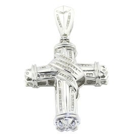 14K White Gold Diamond Cross Pendant Mens 69mm Tall 1ctw Diamond (i2, I/j)