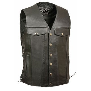 Mens Leather Side Lace Vest With Denim Style Pockets