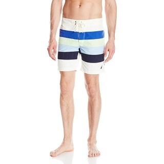 Nautica NEW White Mens Size 2XL Quick Dry Striped Board Shorts Swimwear