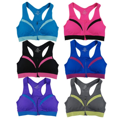 Women's 6 Pack Contrast Color Padded Zipper Sports Bras