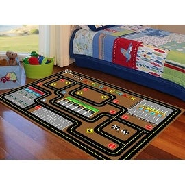 Auto Race track 4X6 5x7 7x10 8x10 Feet Brown Kids Area Rug Cars Car Boys Girls Carpet Washable Rubber New