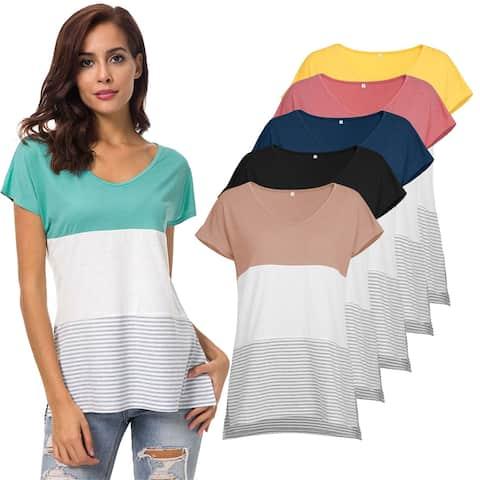 Horizontal Stripes Color Blocking Stretchy Top Shirt