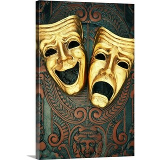 """""""Golden comedy and tragedy masks on patterned leather"""" Canvas Wall Art"""