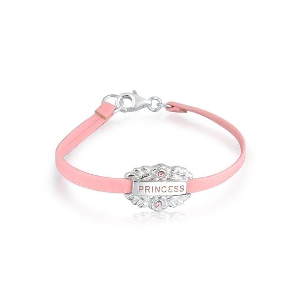Pink Princess Heart Charm Bangle Leather Bracelet 925 Sterling Silver. Opens flyout.