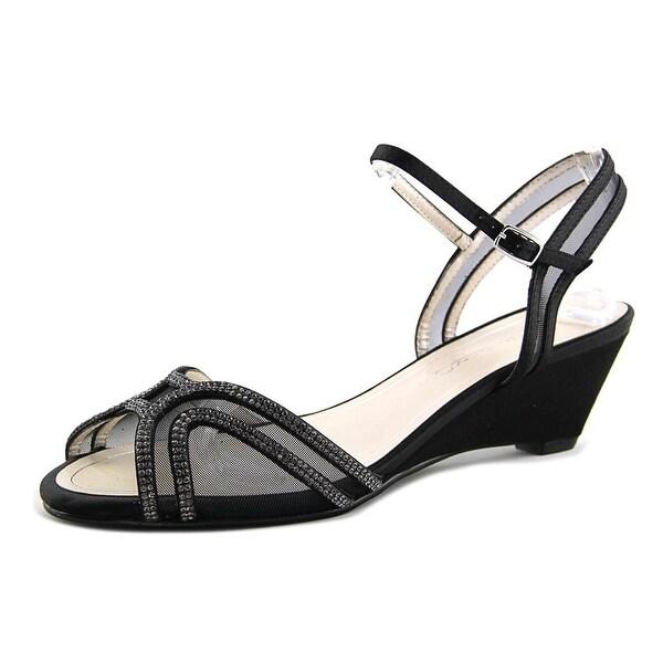 Caparros Hilton Women Open Toe Canvas Black Sandals