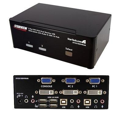 StarTech 2 Port DVI VGA Dual Monitor KVM Switch w//USB and Audio SV231DDVDUA