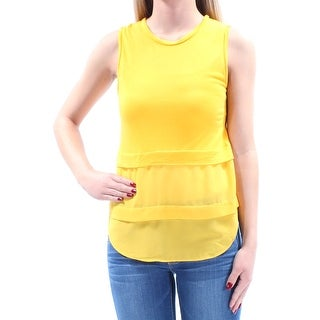 MICHAEL KORS $59 Womens New 2188 Yellow Jewel Neck Sleeveless Tiered Top XS B+B
