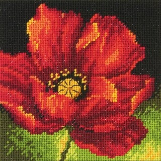 """Red Poppy Mini Needlepoint Kit-5""""X5"""" Stitched In Floss"""