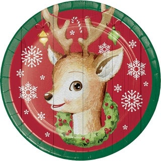 Club Pack of 96 Brown, Green and Red Christmas Themed with Deer Print Luncheon Plates 6.87""