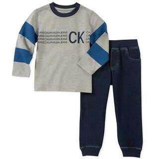Calvin Klein Boys 4-7 Long Sleeve Jogger Set - Blue