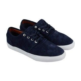 Diamond Premier Mens Blue Suede Lace Up Sneakers Shoes