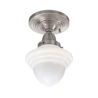 """Norwell Lighting 8201F Bradford Single Light 7"""" Wide Flush Mount Ceiling Fixture with White Glass Shade"""