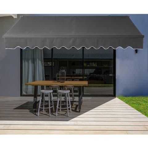 ALEKO 20'x10' Motorized Black Frame Retractable Home Patio Canopy Awning
