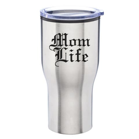 Mom Life Engraved 28 oz. Stainless Steel Tumbler with Lid