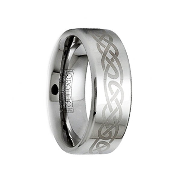 MARCELLUS Polished Tungsten Wedding Ring with Brushed Engraved Celtic Motif by Crown Ring - 6mm