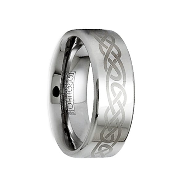 MARCELLUS Polished Tungsten Wedding Ring with Brushed Engraved Celtic Motif by Crown Ring