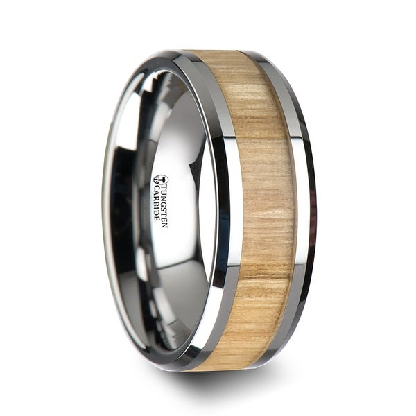 THORSTEN - SAMARA Tungsten Ring with Polished Bevels and Ash Wood Inlay