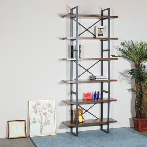 6-tier etagered walnut shelf bookcase with black metal frame - 35.43*12.5*85 inches