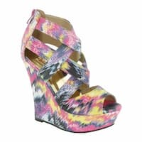 Red Circle Footwear 'Chrissy' Multi Color  Print Wedge