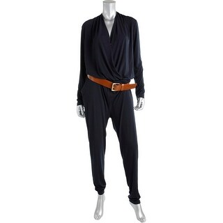 MICHAEL Michael Kors Womens Belted Long Sleeves Jumpsuit - L
