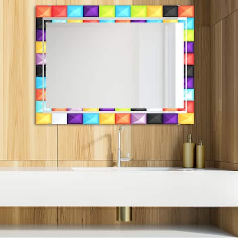 Designart 'Capricious Colorfields 5' Glam Mirror - Modern Vanity Mirror