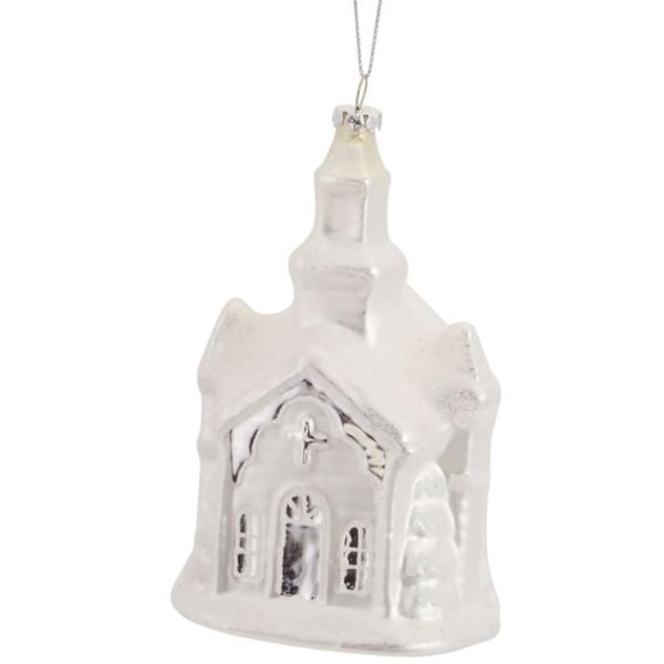 Pack of 6 Decorative Glass Frosted White Church Ornament