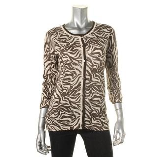 Jones New York Womens Linen Blend Animal Print Cardigan Sweater - L