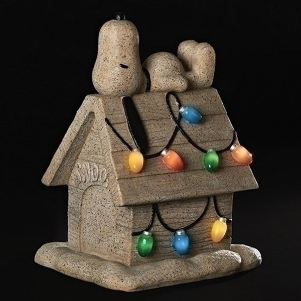 """18"""" Brown and Blue Snoopy on a Doghouse with Retro Lights Christmas Tabletop Figure"""