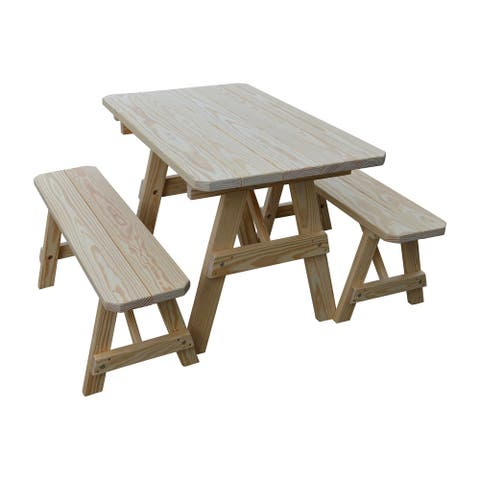 Pine 4' Traditional Picnic Table with 2 Benches
