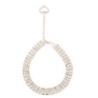 Metal 4 Rows Sparkle Rhinestone Decor Rectangle Shaped Pet Necklace Sliver Tone