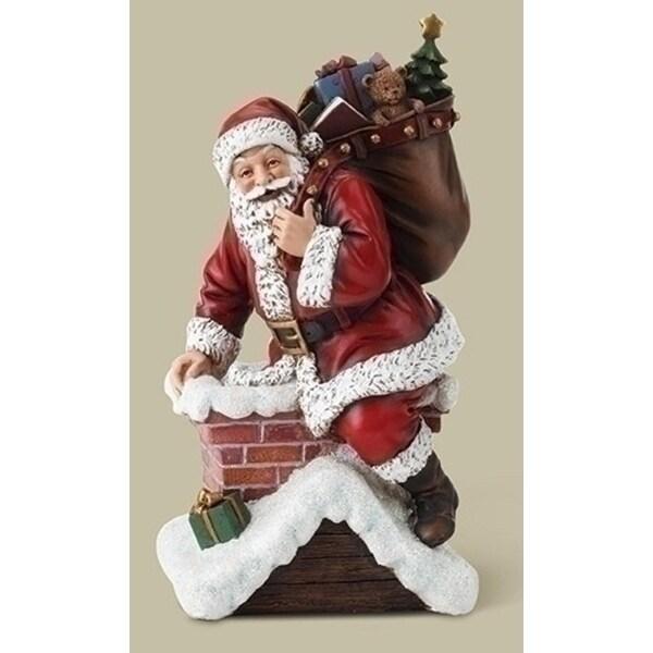 "10.75"" Red Santa Climbing in Chimney Decorative Christmas Figure"
