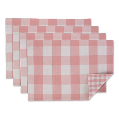 DII Pink & White Reversible Gingham Buffalo Check Placemat Set, 4 Piece
