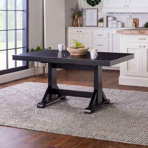 60-inch Antique Black Wood Trestle Base Dining Table