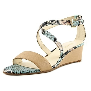 Nine West Lace Dress Women Open Toe Leather Multi Color Wedge Sandal