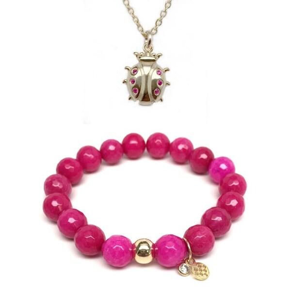 Fuchsia Quartz Bracelet & CZ Ladybug Gold Charm Necklace Set
