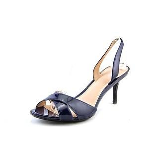 Calvin Klein Lucette Women Open Toe Patent Leather Blue Sandals