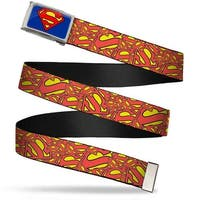 Superman Fcg Blue  Chrome Super Shield Stacked Yellow Red Webbing Web Belt
