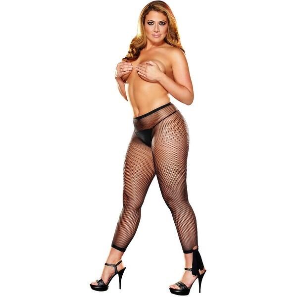35cc4807a89 Shop Plus Size Fishnet Leggings With Ankle Bows