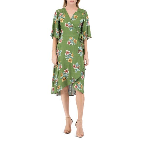 Bobeau Womens Wrap Dress Floral Print Casual - Tulum Floral