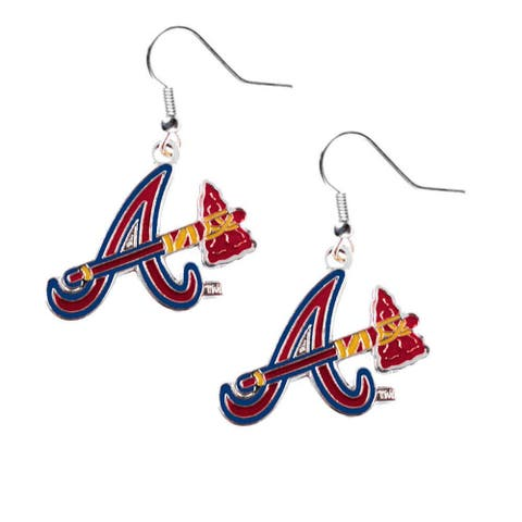 "Atlanta Braves Dangle ""A"" Logo Earring Set MLB Charm Gift - 1/2"" to 3/4"" charm"