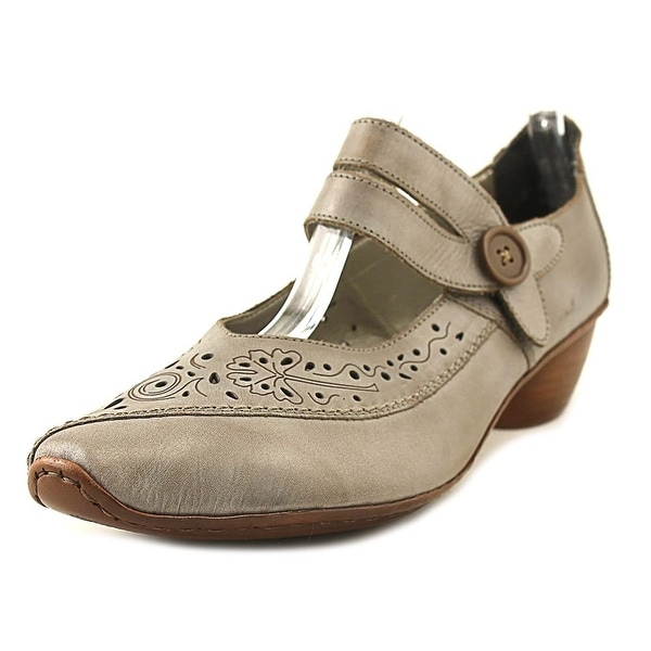 Rieker Mirjam Perforated Pump Women Round Toe Leather Gray Mary Janes
