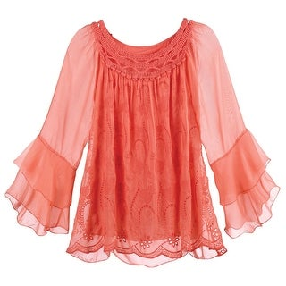 Kaktus Sportswear Women's Coral Tunic Top - Embroidered And Crocheted Blouse