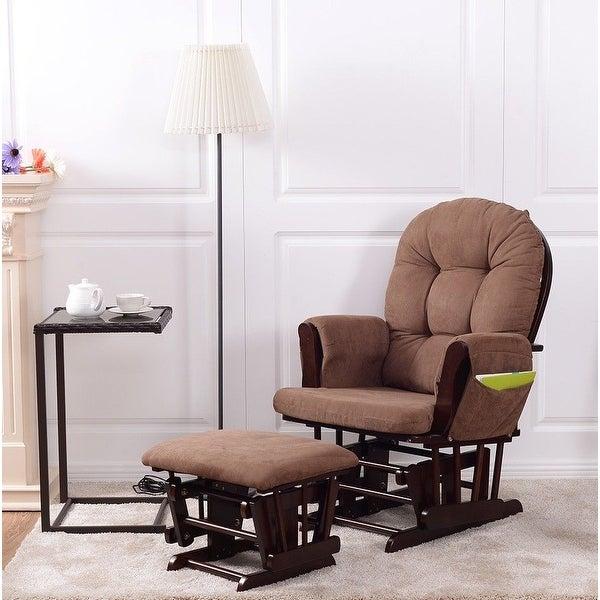 Costway Baby Nursery Relax Rocker Rocking Chair Glider & Ottoman Set w/ Cushion Espresso