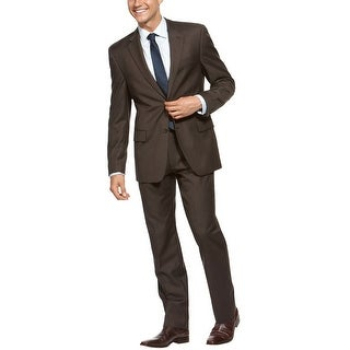 Kenneth Cole Reaction Slim Fit Brown Wool Suit 46 Regular 46R Pants 40W