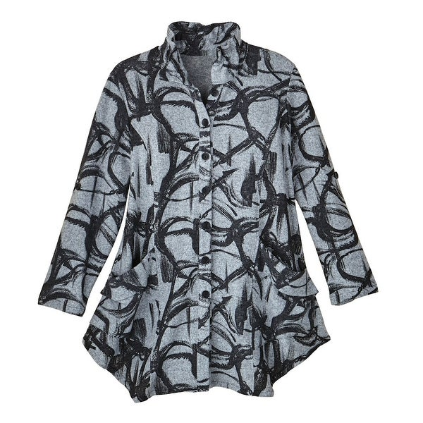 42170280881 Shop Women's Button-Front Tunic Blouse - Charcoal Brushstrokes on Gray - On  Sale - Free Shipping On Orders Over $45 - Overstock.com - 18221245