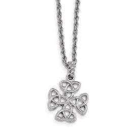 Silvertone Celtic Trinity Cross Necklace - 16in