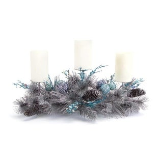 """25"""" Silver Pine and Blue Sequined Ball Ornament Christmas Pillar Candle Holder Centerpiece"""