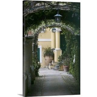 Premium Thick-Wrap Canvas entitled Lanterns hanging in a garden, Capri, Naples, Campania, Italy